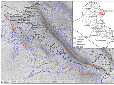 L'area oggetto della ricognizione archeologica della MAIKI – MSP Project (mappa MAIKI, elaborazione J. Bogdani)