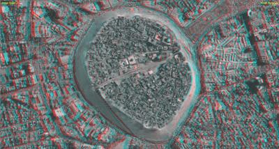 La Cittadella di Erbil, immagine anaglifo catturata durante la fase di restituzione stereo fotogrammetrica della pianta (foto DiSA-MAIKI, elaborazione Studio 3R)