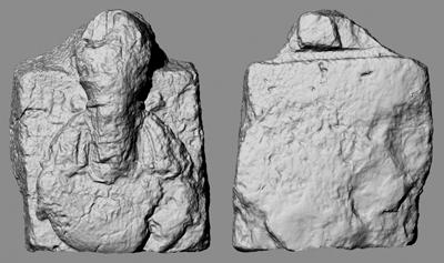 Modello 3D di uno dei busti monumentali del sovrano sasanide Narseh che decoravano il monumento di Paikuli (Immagine MAIKI-Studio3R)